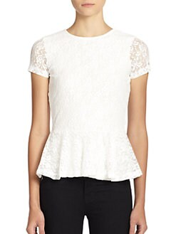 BLACK Saks Fifth Avenue - Lace Peplum Top