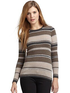 BLACK Saks Fifth Avenue - Cashmere & Metallic Striped Sweater/Taupe