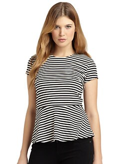 BLACK Saks Fifth Avenue - Striped Peplum Top
