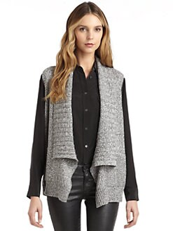 BLUE Saks Fifth Avenue - Marled Draped Vest