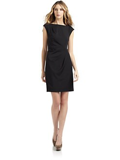 BLACK Saks Fifth Avenue - Pleated Cap Sleeve Dress