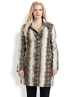 Jane Post, Salon Z - Reversible Python-Print/Tan Coat