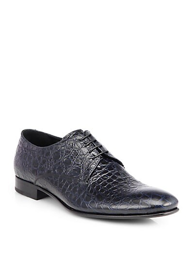 Embossed Leather Lace-Up Dress Shoes