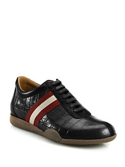 Bally - Print Leather Lace-Up Sneakers