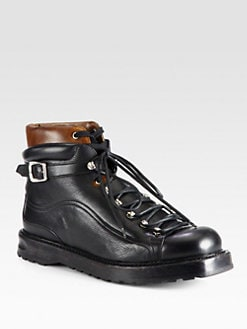 Bally - Leather Lace-Up Ankle Boots