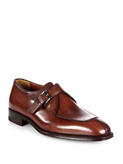A. Testoni - Buckle Washed Leather Slip-Ons