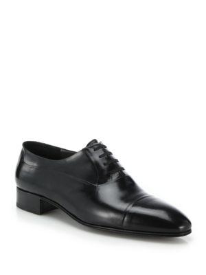 Leather Cap-Toe Dress Shoes