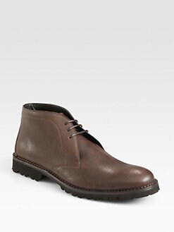 A. Testoni - Leather Lace-Up Ankle Boot