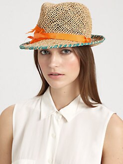 Lola - Summer Shards Feather-Trimmed Woven Fedora