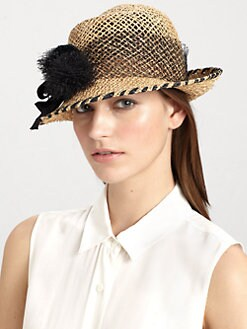 Lola - Tumbleweed Mesh-Trimmed Raffia Cloche