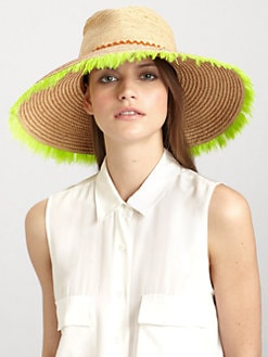 Lola - Horchata Wide-Brimmed Feathered Raffia Hat