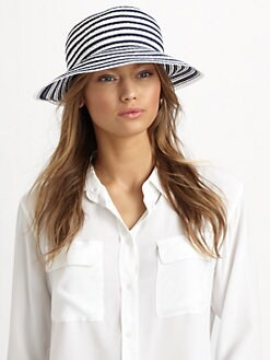 Eric Javits - Striped Grosgrain Ribbon Bucket Hat