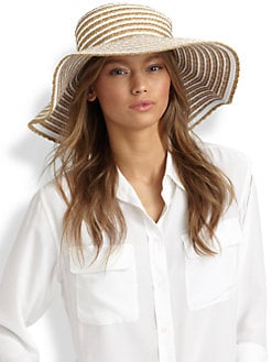 Eric Javits - Striped Grosgrain Ribbon Floppy Hat
