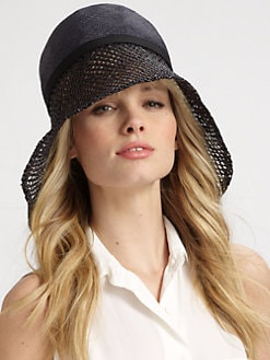 Lika - Crochet Accented Asymmetrical Brim Straw Hat