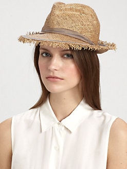 Lola - Guard Rail Frayed Raffia Fedora