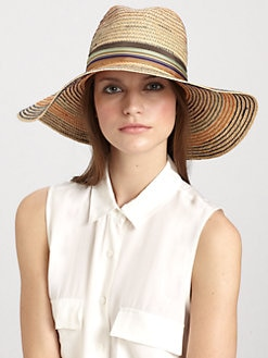 Lola - Stop & Go Wide-Brimmed Striped Raffia Hat