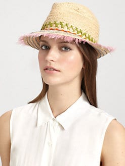Lola - Peyote Feather-Trimmed Raffia Fedora
