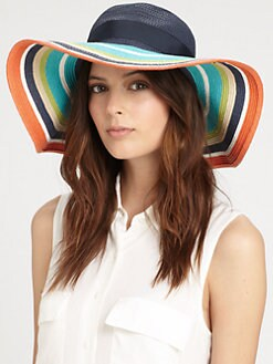Kate Spade New York - Wide-Brimmed Striped Straw Hat