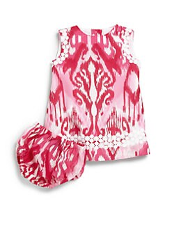 Oscar de la Renta - Infant's Two-Piece Ikat Lace Dress & Bloomers Set
