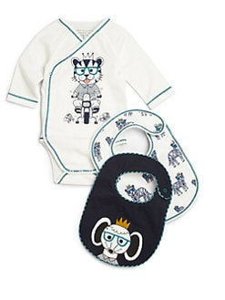 Little Marc Jacobs - Infant's Le Tigre Three-Piece Bodysuit & Bibs Set