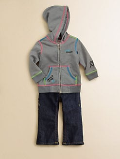 True Religion - Infant's Three-Piece Zip Hoodie, Bodysuit & Jeans Set