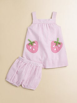 Florence Eiseman - Infant's Strawberry Seersucker Dress & Bloomers Set