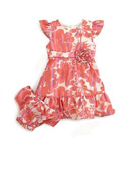 DKNY - Infant's Ruffled Floral Print Dress & Bloomer Set