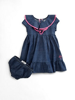 DKNY - Infant's Contrast-Trim Denim Dress & Bloomer Set