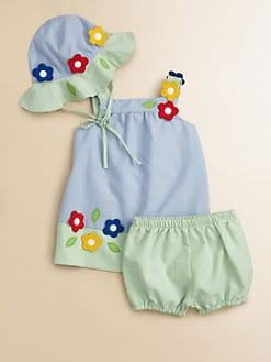 Florence Eiseman - Infant's Striped Floral Dress & Bloomers Set