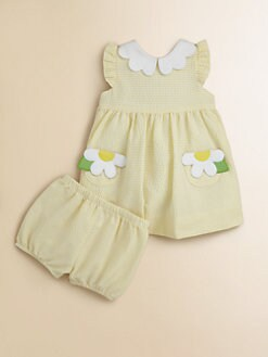 Florence Eiseman - Infant's Floral Seersucker Dress & Bloomers Set