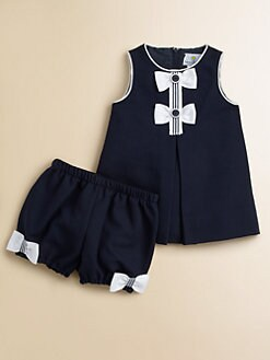 Florence Eiseman - Infant's Pique Bow Dress & Bloomers Set