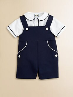 Florence Eiseman - Infant's Two-Piece Pique Shirt & Shortall Set