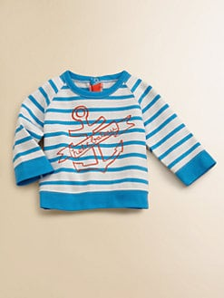 Petit Bateau - Infant's Striped Anchor Sweatshirt