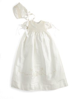 Isabel Garreton - Infant's Two-Piece Silk Pearls Christening Gown & Bonnet Set