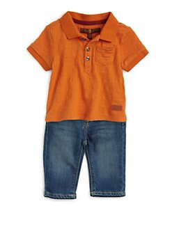 7 For All Mankind - Infant's Slub Stripe Top & Jeans Set