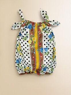 Dolce & Gabbana - Infant's Silk Floral Polka Dot Shortall