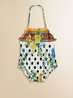 Dolce & Gabbana - Infant's Floral Polka Dot One-Piece Swimsuit