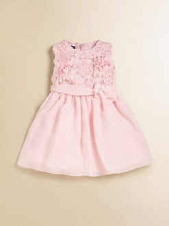 David Charles - Infant's Embroidered Rosette Chiffon Dress