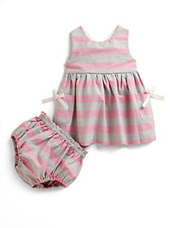 Lili Gaufrette - Infant's Striped Cotton Crepe Dress & Bloomers Set