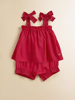 Lili Gaufrette - Infant's Two-Piece Popeline Bow Top & Shorts Set