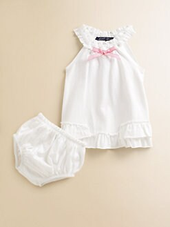 Lili Gaufrette - Infant's Ruffled Cotton Jumper & Bloomers Set