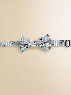 Andy & Evan - Boy's Striped Anchor Print Bow Tie
