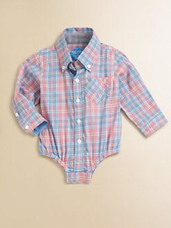 Andy & Evan - Infant's Woven Pastel Plaid Bodysuit