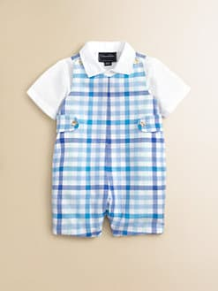 Oscar de la Renta - Infant's Check Shortall and Shirt Set