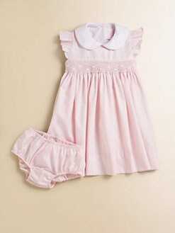 Anavini - Infant's Ellen Smocked Poplin Dress & Bloomers Set