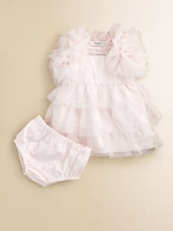 Miniclasix - Infant's Tiered Tulle Dress, Bolero and Bloomer Set