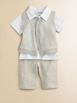 Miniclasix - Infant's Sweater Vest, Shirt and Linen Pants Set