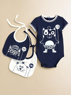 Little Marc Jacobs - Infant's Three-Piece Printed Bodysuit & Bib Set