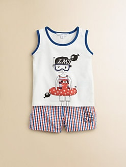 Little Marc Jacobs - Infant's Two-Piece Tank Top & Mini Check Swim Trunks Set