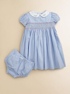 Hartstrings - Infant's Striped Seersucker Dress & Bloomers Set